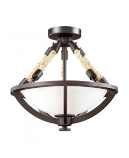Elk   63011-2 Natural Rope Semi Flush Mount Ceiling Fixture