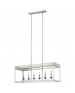 Feiss  F3278-6PN  Woodruff Linear Chandelier