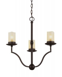 "Sea Gull Lighting Model 3110603-191 Trempealeau 3 light Chandelier 31"" Roman Bronze-Champagne Seeded"