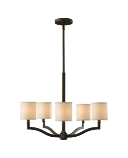 Feiss F2519-5ORB Stelle Series Chandelier Oil Rubbed Bronze-Cream Linen Finish