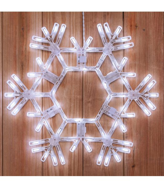 CLP6461  20 Inch LED Folding Twinkle Snowflake Decoration 70 Cool White Twinkle Lights