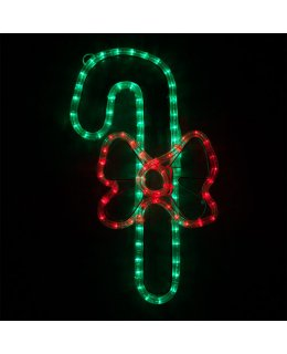 CLP13877  20 Inch LED Candy Cane with Bow Christmas Light Display