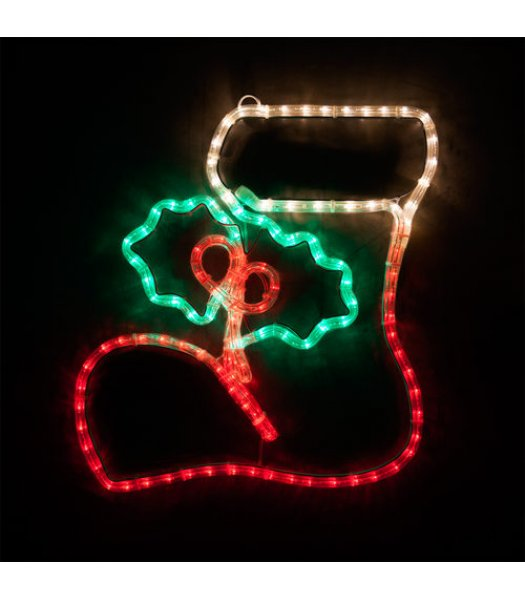 CLP13869  20 Inch LED Christmas Stocking with Holly