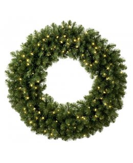 CLP12275 48 Inch LED Commercial Grade Sequoia Fir Prelit Christmas Wreath 200 WARM WHITE LED Lights