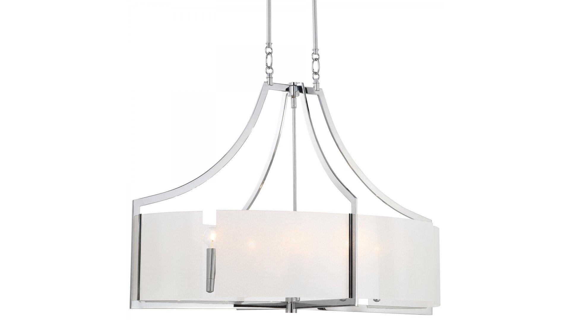 Minka Lavery Lighting Model 4398 77 Clarte 6 Light Pendant Fixture Chrome White Finish