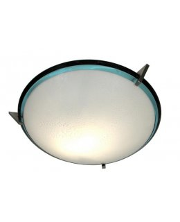 Oggetti Lighting Model 28-4203 Pie In The Sky Flush Mount Ceiling Light Satin Nickel-Azzuro Nero Finish