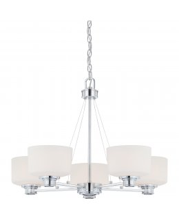 Satco Lighting Model 60-4585 Soho 27 Inch Chanelier Chrome-Satin White Finish