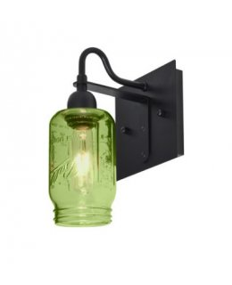 Besa Lighting 1WG-MILO4WF-BK Milo 4 Series Wall Sconce Light Fixture Black-Green Glass Finish