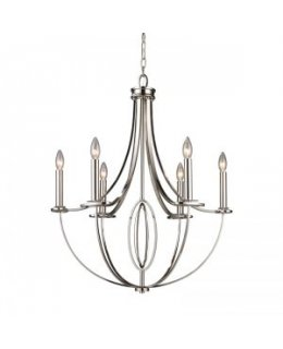 Elk Lighting 10121-6 Dione 25 Inch Chandelier Polished Nickel Finish