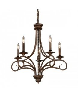 Elk Lighting Model 15042/5 Gloucester 24 Inch Chandelier Antique Bronze Finish