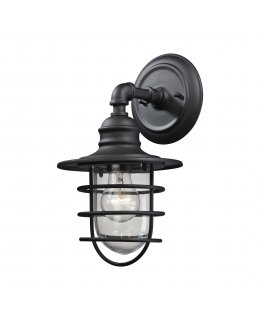 Elk Lighting Model # 45212-1  Vandon Outdoor Wall Sconce Matte Black-Clear Finish