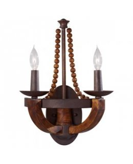 Feiss Lighting Model WB1591RI/BWD Adan Wall Sconce Light Fixture Rustic Iron Burnished Wood Finish