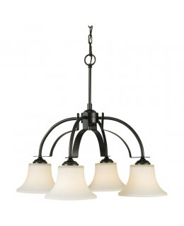 Feiss F2251-4ORB 26 Inch Barrington Downlight Series Chandelier Oil Rubbed Bronze-White Etched Opal Finish