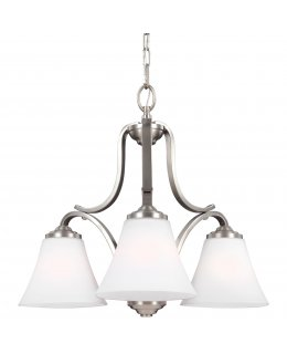 Feiss Lighting Model F3064-3SN Hamlet Downlight Series Chandelier Satin Nickel-White Finish