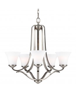 Feiss Lighting Model F3065-5SN 27 Inch Hamlet Uplight Series Chandelier Satin Nickel-White Finish