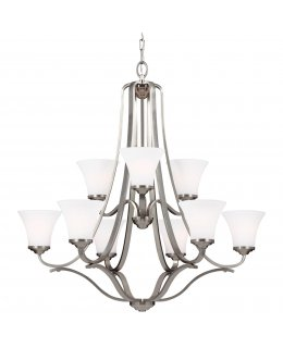 Feiss Lighting Model F3066-9SN 34 Inch Hamlet Uplight Series Chandelier Satin Nickel-White Finish