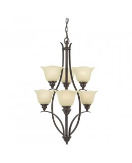 Feiss F2051-3+3GBZ Morningside 6 Light Multi Tier Chandelier