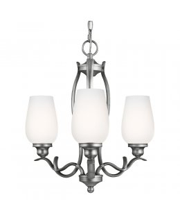 Feiss Lighting Model F3001-3HTSL 18 Inch Standish Uplight Series Chandelier Heritage Silver-White Etched Opal Finish