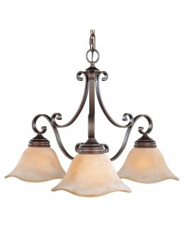 Feiss Lighting Model F1837-3CB Tuscan Villa Downlight Series Chandelier Corinthian Bronze-Champagne Scavo Finish
