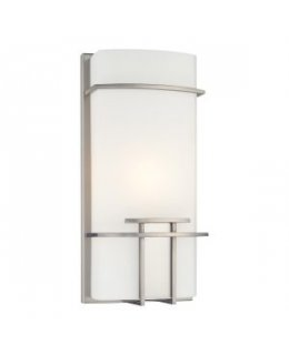 George Kovacs Model P465-084   P465 ADA Wall Sconce Light Fixture Polished Nickel-Clear White Finish