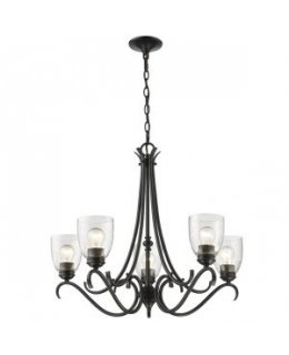 Golden Lighting 8001-5 BLK-SD Parrish 27 Inch Chandelier