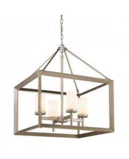 Golden Lighting Model  2073-4 WG Smyth Chandelier White Gold-Opal Finish