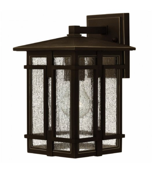 Hinkley 1960OZ  7 Inch Tucker Outdoor Wall Sconce Oil Rubbed Bronze-Clear Seedy Finish