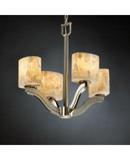 Justice Design Lighting Model FAL-9695-25-DBRZ Square Bowl Semi-Flush Ceiling Light Fixture Dark Bronze-Faux Alabaster Finish