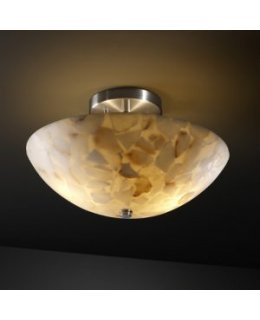 Justice Design ALR-9690-35-NCKL  Alabaster Rocks Round Bowl Ceiling Mount
