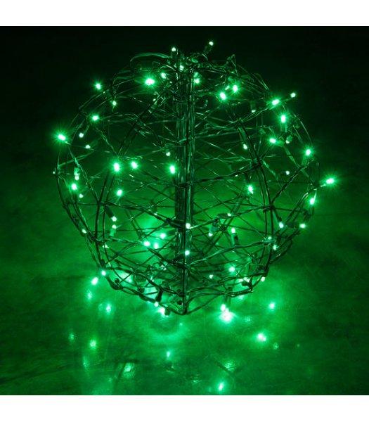 CLP13775 LED Christmas Light Ball Green Fold Flat Christmas Light Display