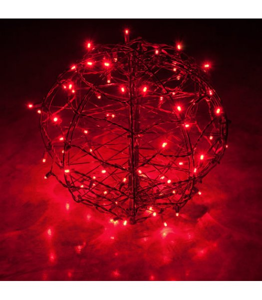 CLP13774 LED Christmas Light Ball Red Fold Flat Christmas Light Display