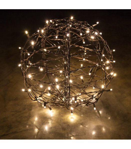 CLP13771 LED Christmas Light Ball Warm White Flat Christmas Light Display