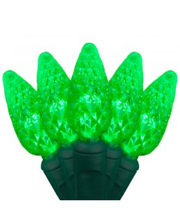CLP7152  Commercial Grade LED Christmas Lights Green Wire C6 Strawberry Green Bulbs 24' string w-70 lights 4 inch spacing