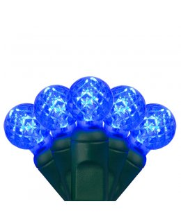 CLP7133 LED Christmas Lights Green Wire G12 Razzberry Blue Bulbs