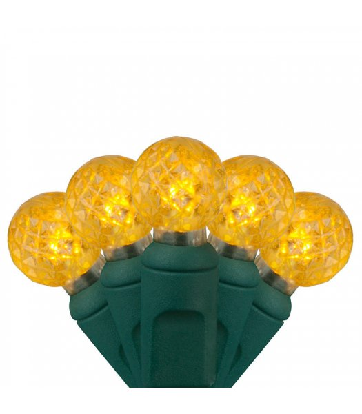 CLP8531 Commercial Grade LED Christmas Lights Green Wire G12 Razzberry Gold Bulbs 24′ string w-70 lights 4 inch spacing