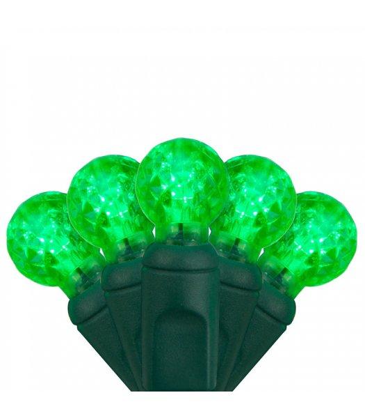 CLP7156 LED Christmas Lights Green Wire G12 Razzberry Green Bulbs