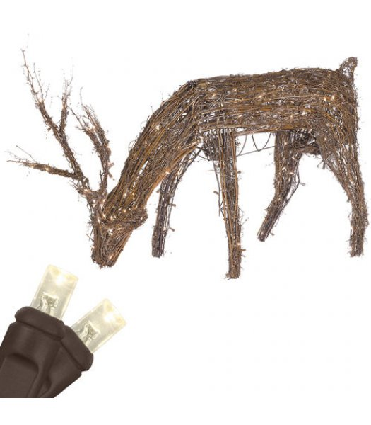 CLU21359  Commercial Grade 48' Grapevine Reindeer with Head Down, 200 Warm White LED Lights