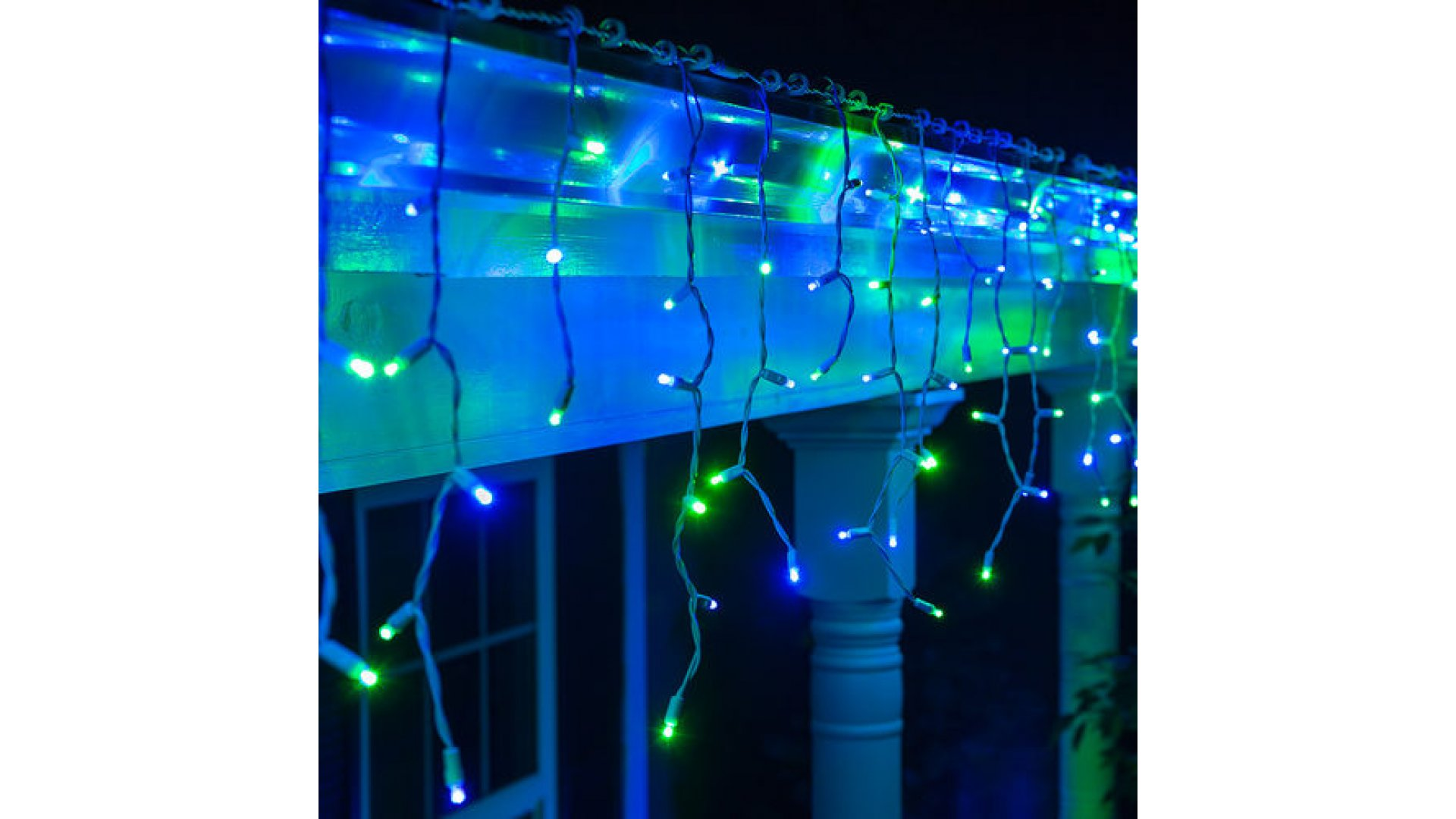 clp13341 led blue green icicle lights on 75 ft white wire