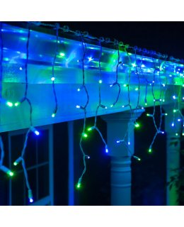 CLP13341 LED Blue & Green Icicle Lights on 7.5 Ft White Wire