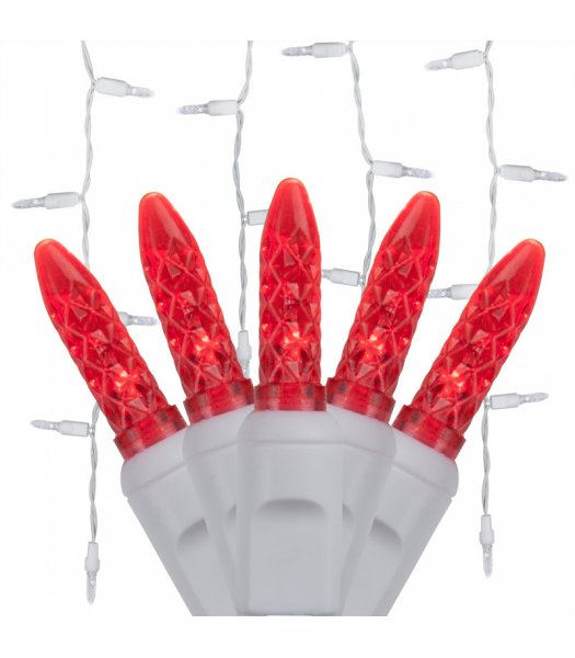 CLP5865 LED Red Icicle Lights on 7.5 Ft White Wire