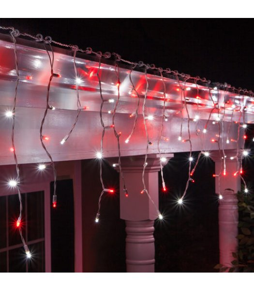 CLP13340 LED Red and Cool White Icicle Lights on 7.5 Ft White Wire