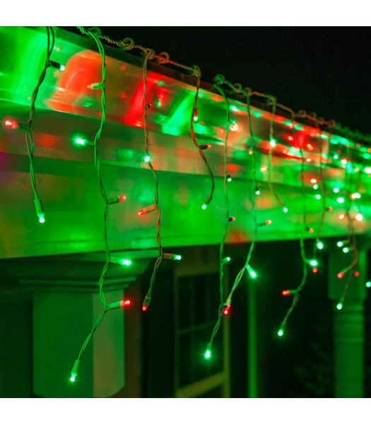 CLP13342 LED Red & Green Icicle Lights on 7.5 Ft White Wire