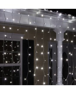 CLP11472 LED Cool White Curtain Icicle Lights on 6 Ft White Wire