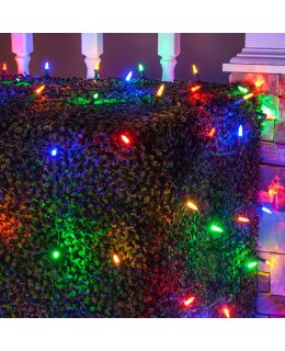 CLU72494 4 ft x 6 ft Net Light Set with 100 Multi-Color LED lights & Green Wire