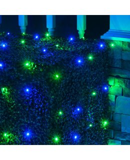 CLU72477 4 ft x 6 ft Net Light Set with 100 Blue-Green LED lights & Green Wire