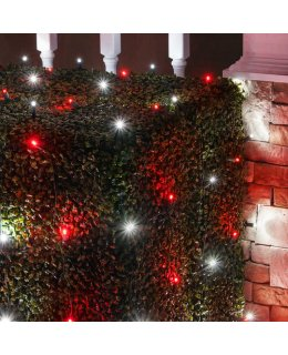 CLU72475 4 ft x 6 ft Net Light Set with 100 Cool White-Red LED lights & Green Wire