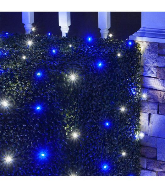 CLU72473 4 ft x 6 ft Net Light Set with 100 Cool White-Blue LED lights & Green Wire