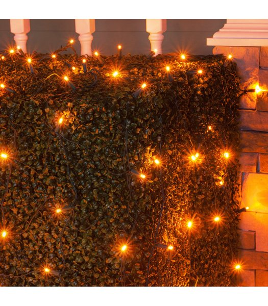 CLU72518 4 ft x 6 ft Net Light Set with 100 AMBER LED lights & Green Wire