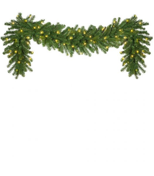 CLP14039 Commercial Grade 9 Ft Long - 14 Inch Wide Warm White LED Prelit Olympia Pine