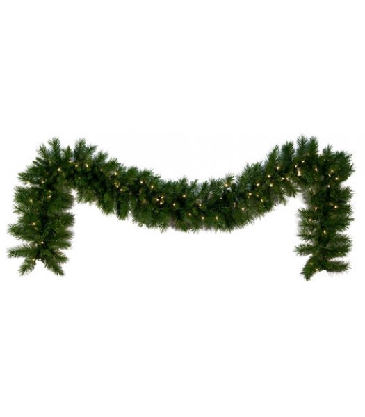 CLP12271 Commercial Grade 9 Ft Long - 14 Inch Wide Warm White LED Prelit Dunhill Fir